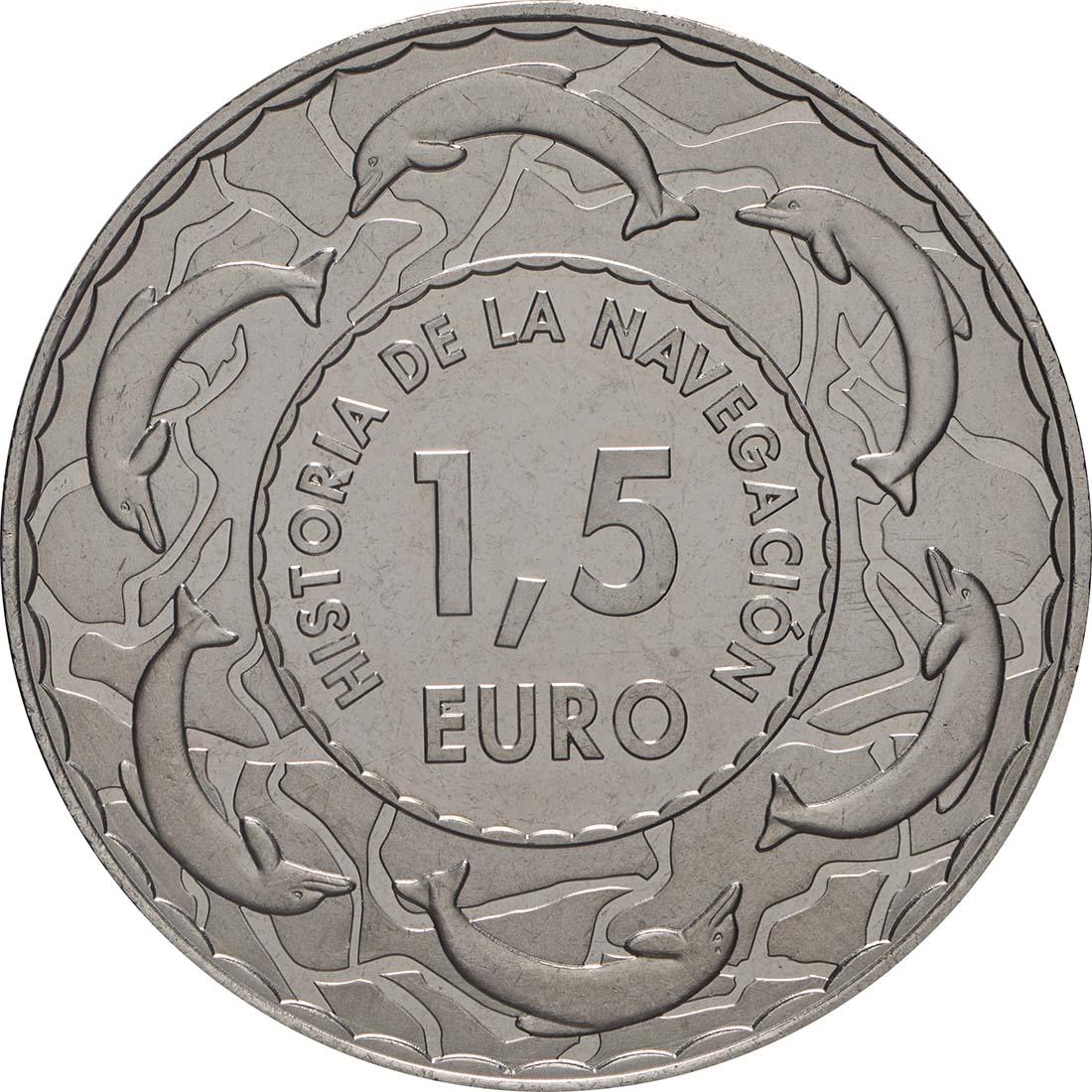 Rückseite:Spanien : 1,5 Euro Spanische Galeone 17. Jh. #15  2019 bfr