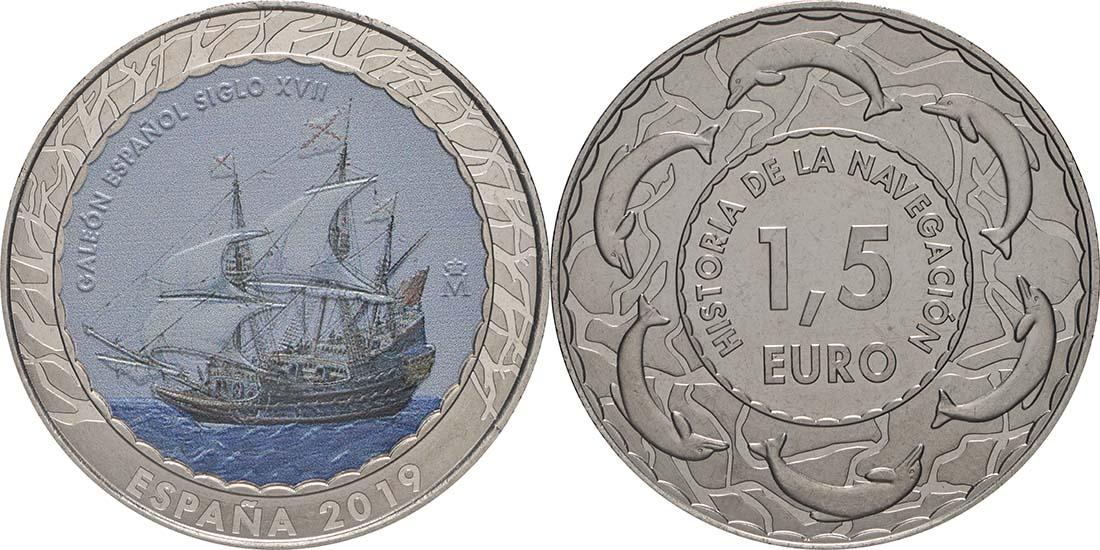 Lieferumfang:Spanien : 1,5 Euro Spanische Galeone 17. Jh. #15  2019 bfr
