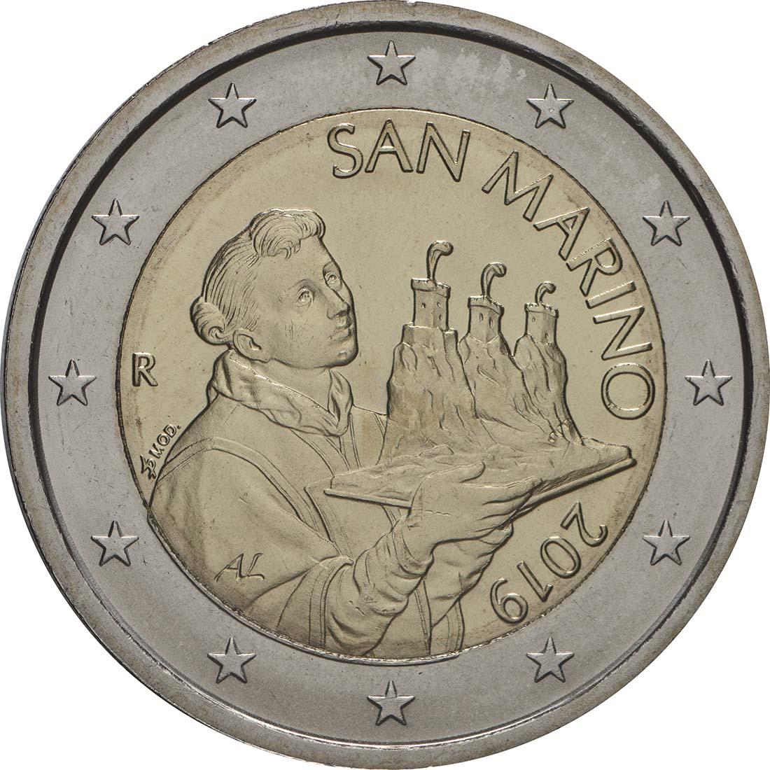 Rückseite:San Marino : 2 Euro Der Heilige Marinus  2019 Stgl.