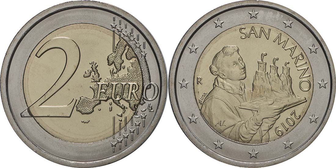 Lieferumfang:San Marino : 2 Euro Der Heilige Marinus  2019 Stgl.