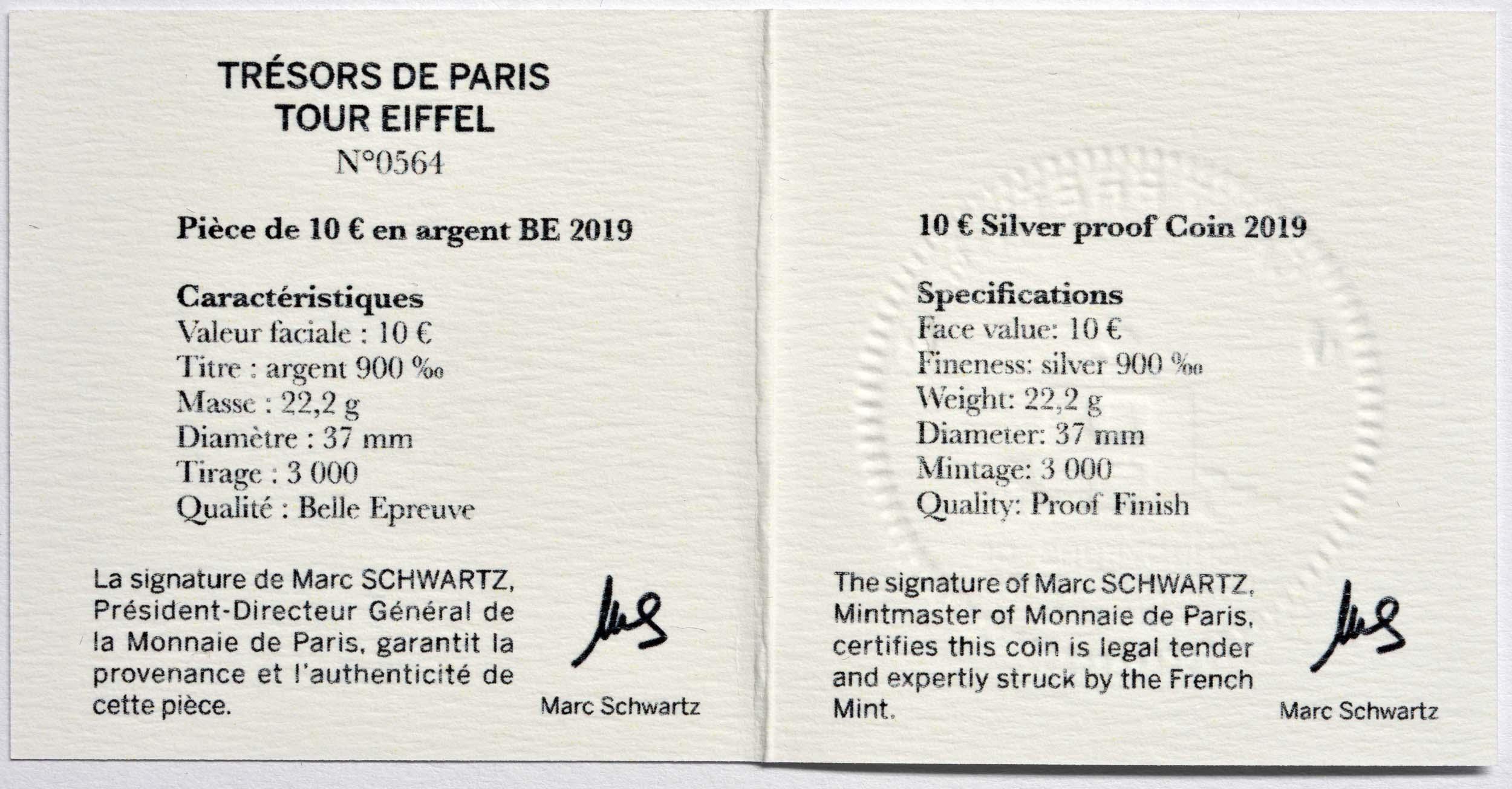 Zertifikat:Frankreich : 10 Euro Eiffelturm  2019 PP