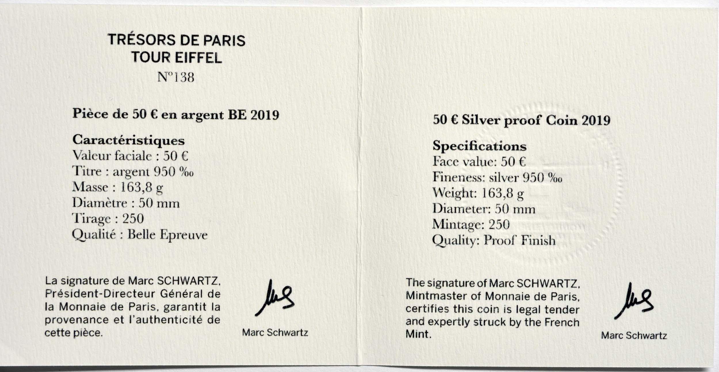 Zertifikat:Frankreich : 50 Euro Eiffelturm  2019 PP