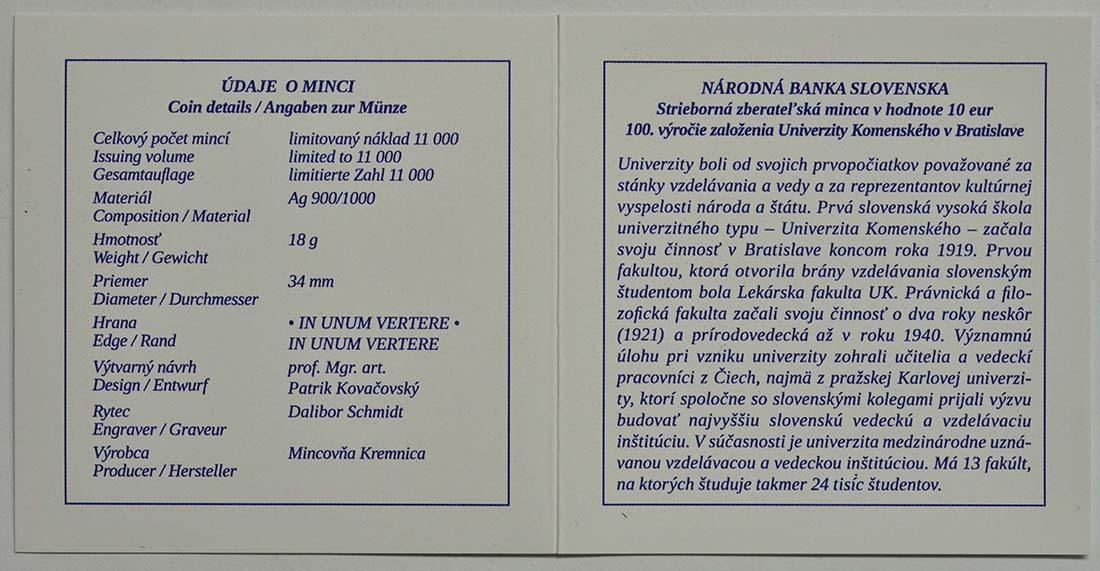 Zertifikat:Slowakei : 10 Euro Komenskeho Universität in Bratislava  2019 PP