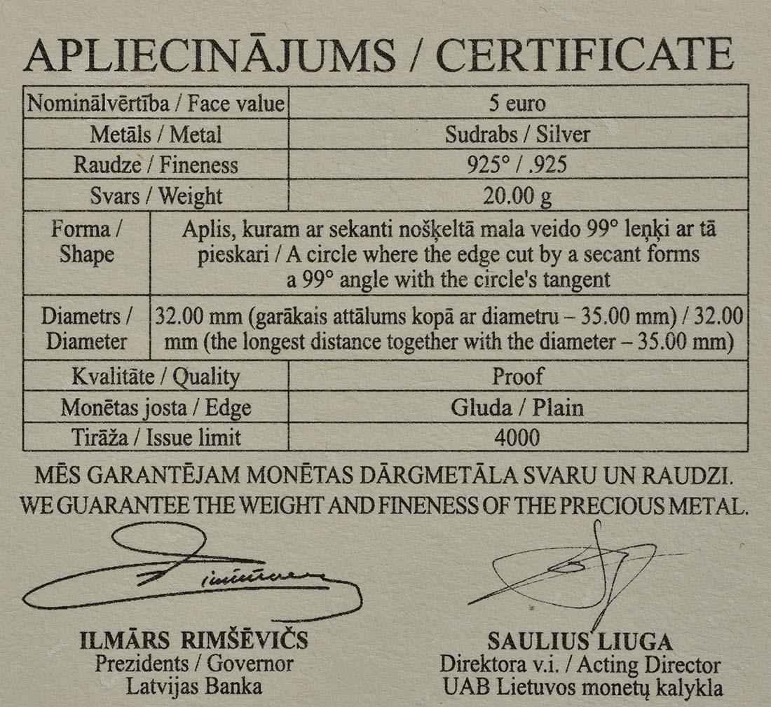 Zertifikat:Lettland : 5 Euro Niklavs Strunke  2019 PP
