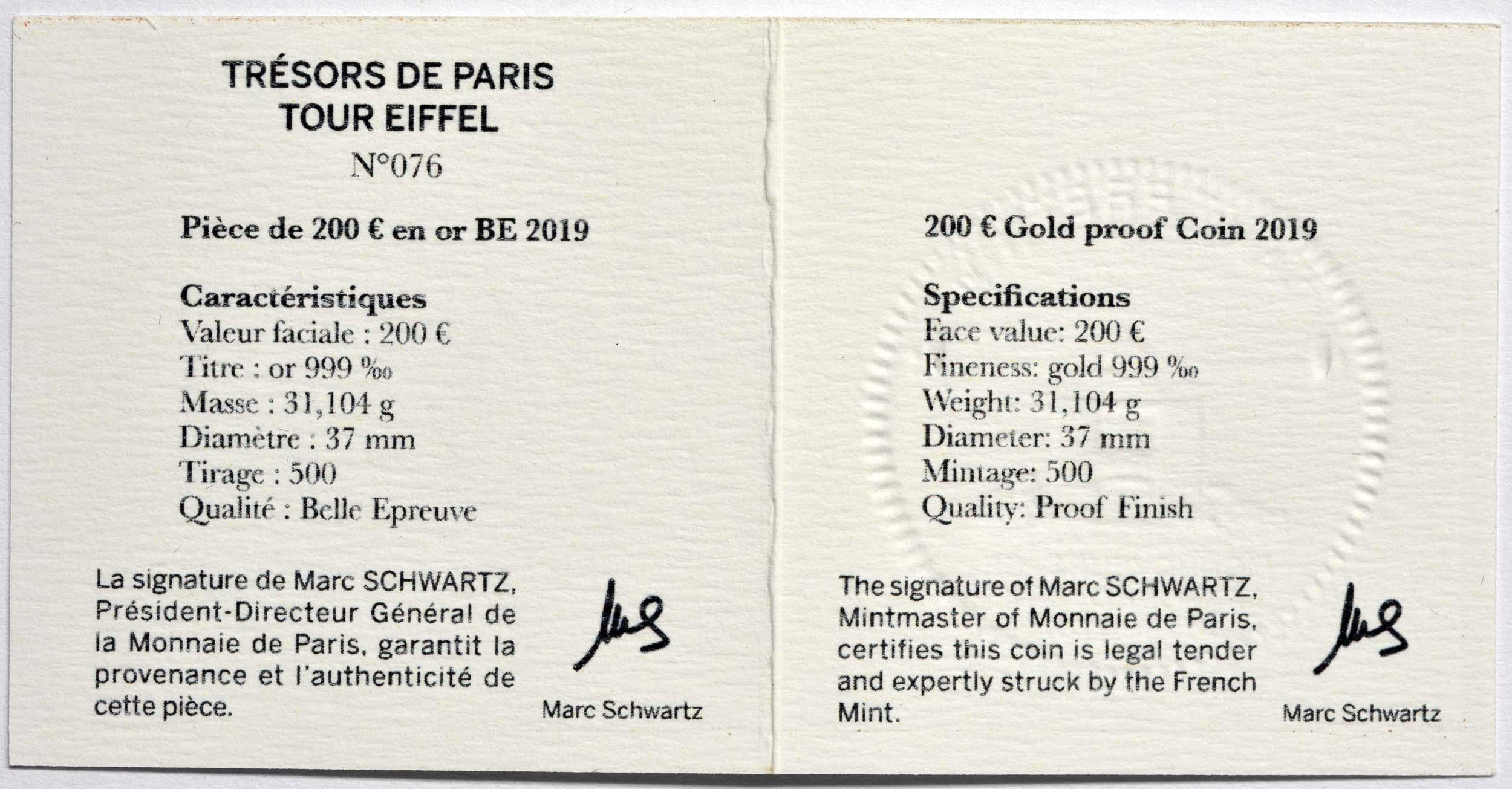 Zertifikat:Frankreich : 200 Euro Eiffelturm  2019 PP