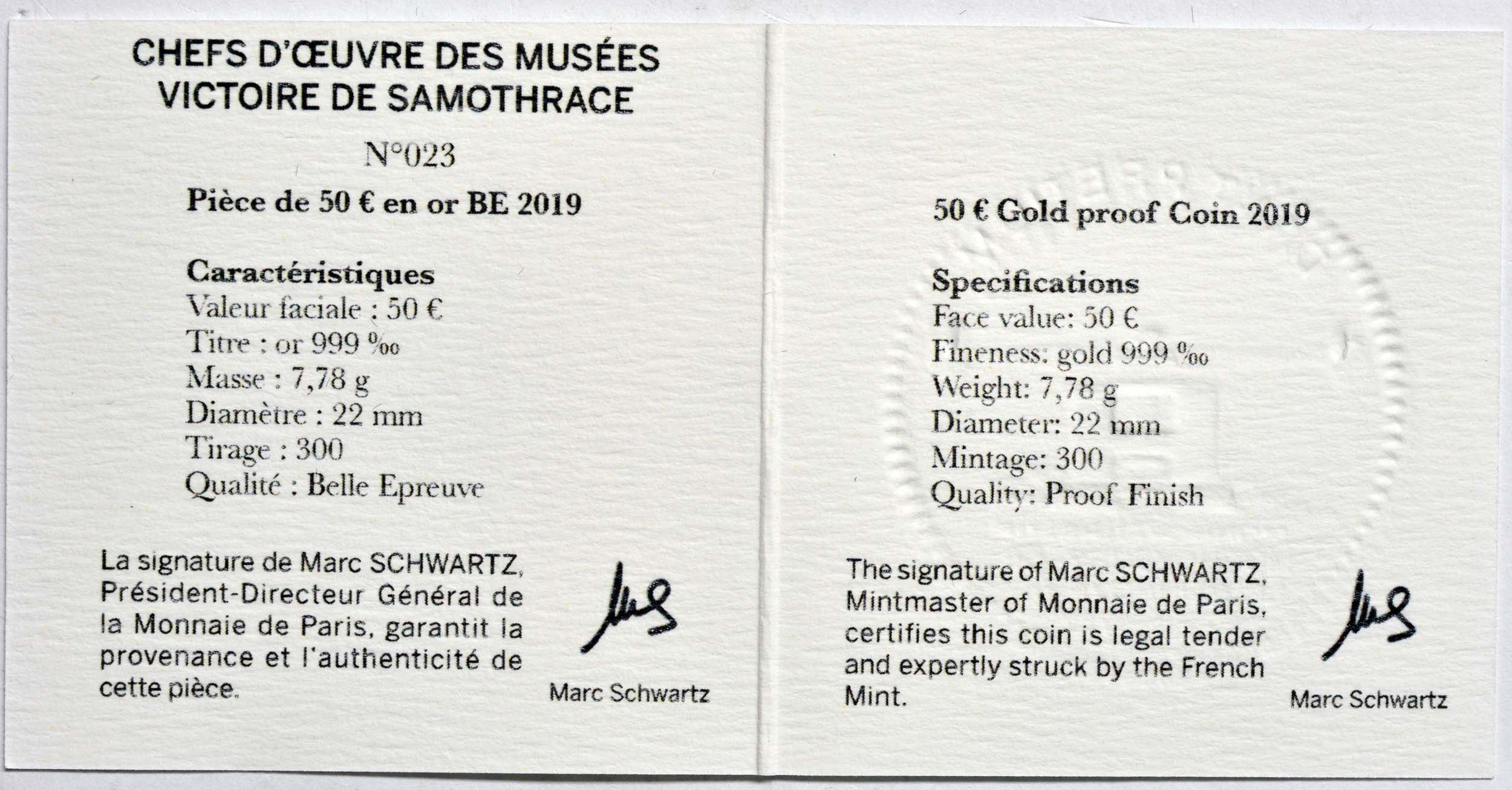 Zertifikat:Frankreich : 50 Euro Nike von Samothrake  2019 PP