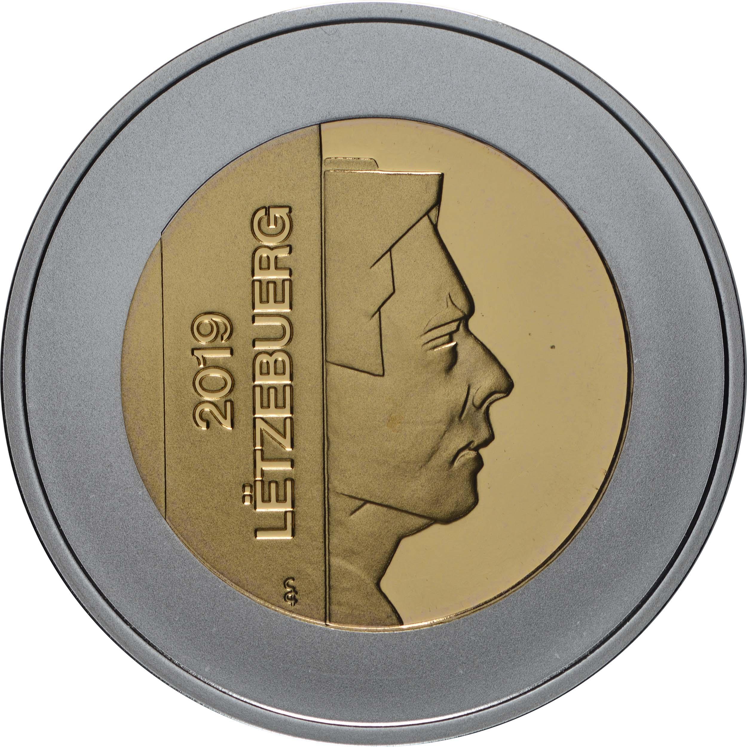 Rückseite:Luxemburg : 5 Euro Haubentaucher  2019 PP