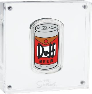 Vorderseite:Tuvalu : 1 Dollar The Simpsons - Duff Beer 1 oz Barrenform  2019 PP