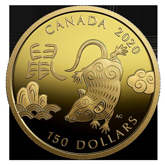 Vorderseite:Kanada : 150 Dollar Jahr der Ratte - rund  2020 PP