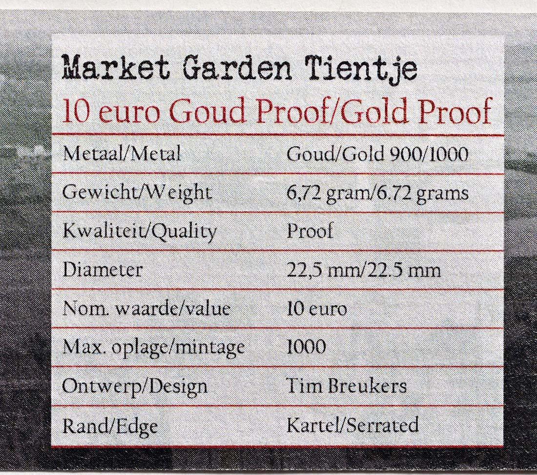 Zertifikat:Niederlande : 10 Euro 75 Jahre Market Garden  2019 PP