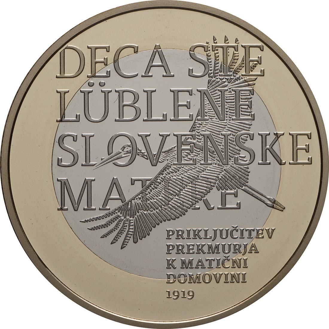 Vorderseite:Slowenien : 3 Euro 100 J. Wiedereingliederung v. Prekmurje  2019 PP