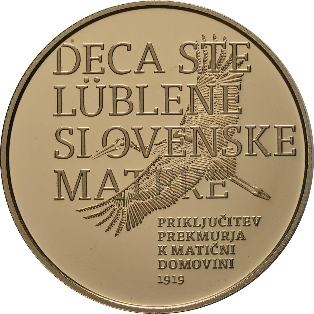 Vorderseite:Slowenien : 100 Euro 100 J. Wiedereingliederung von Prekmurje  2019 PP
