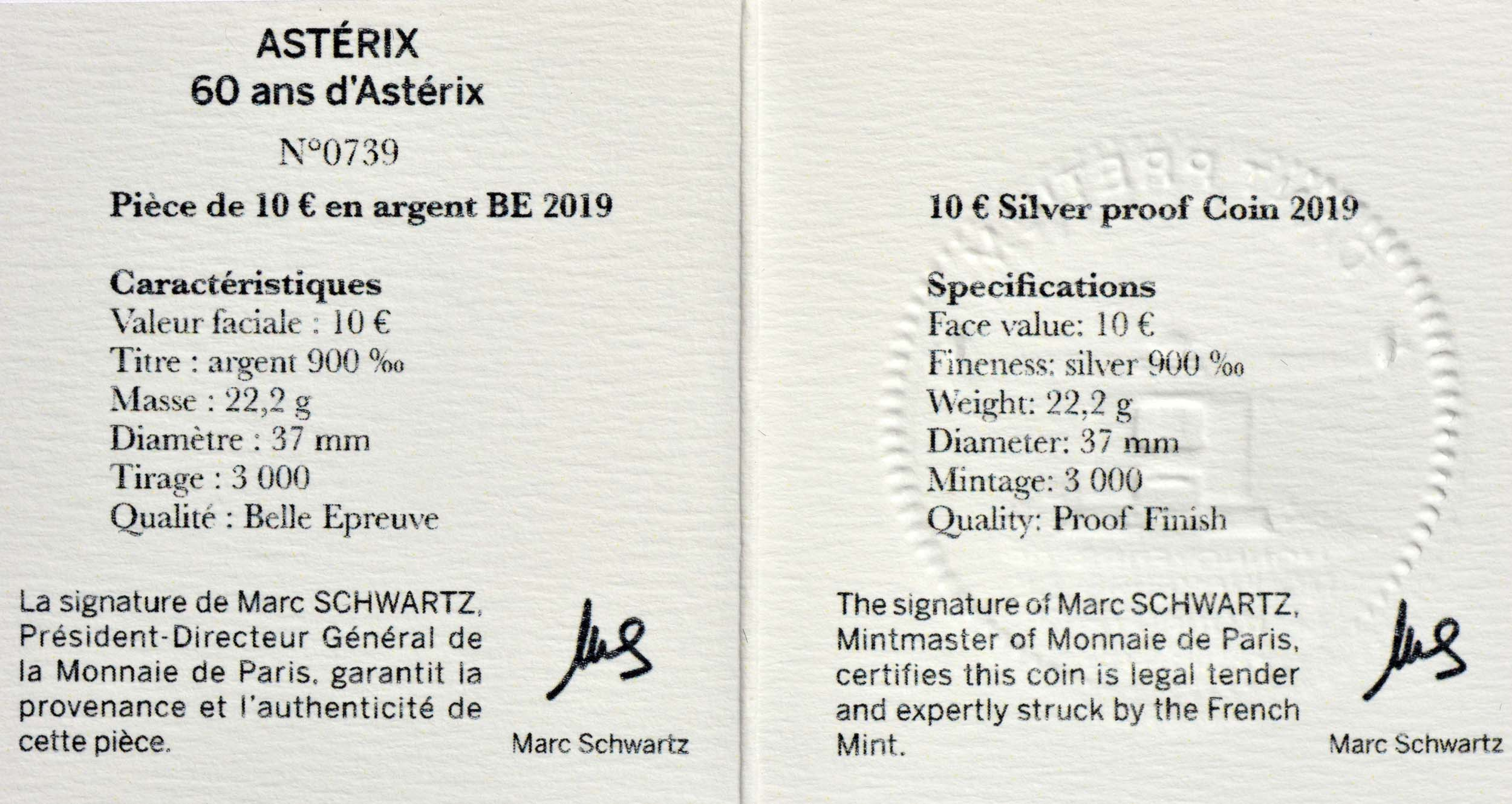 Zertifikat:Frankreich : 10 Euro Asterix  2019 PP