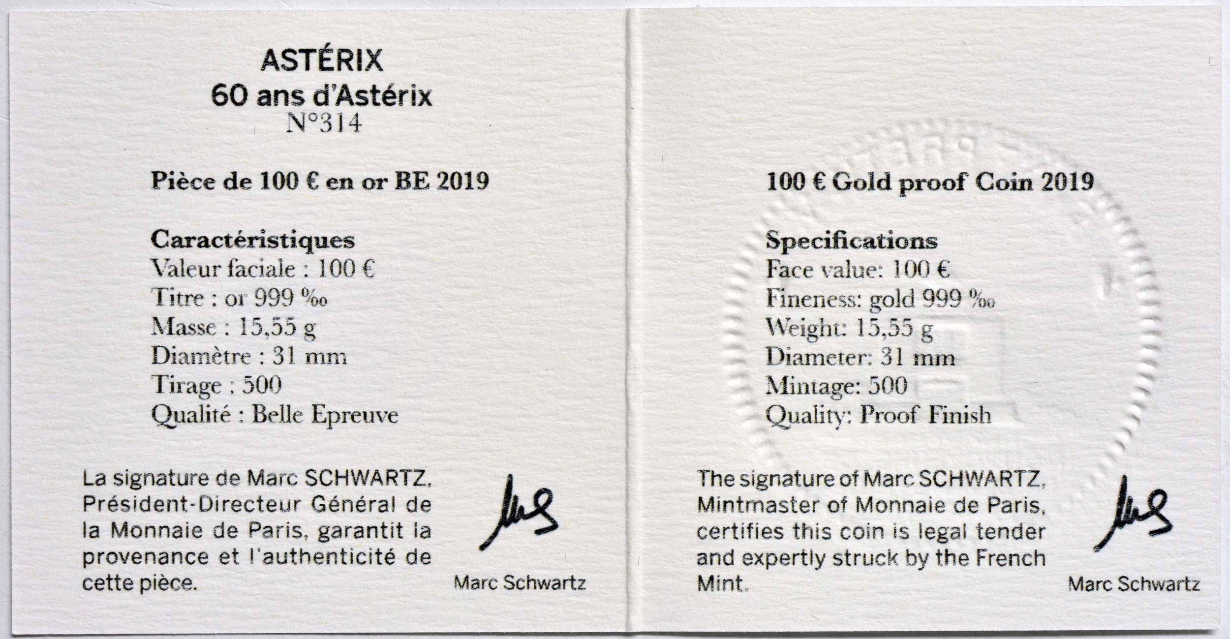 Zertifikat:Frankreich : 100 Euro Asterix  2019 PP