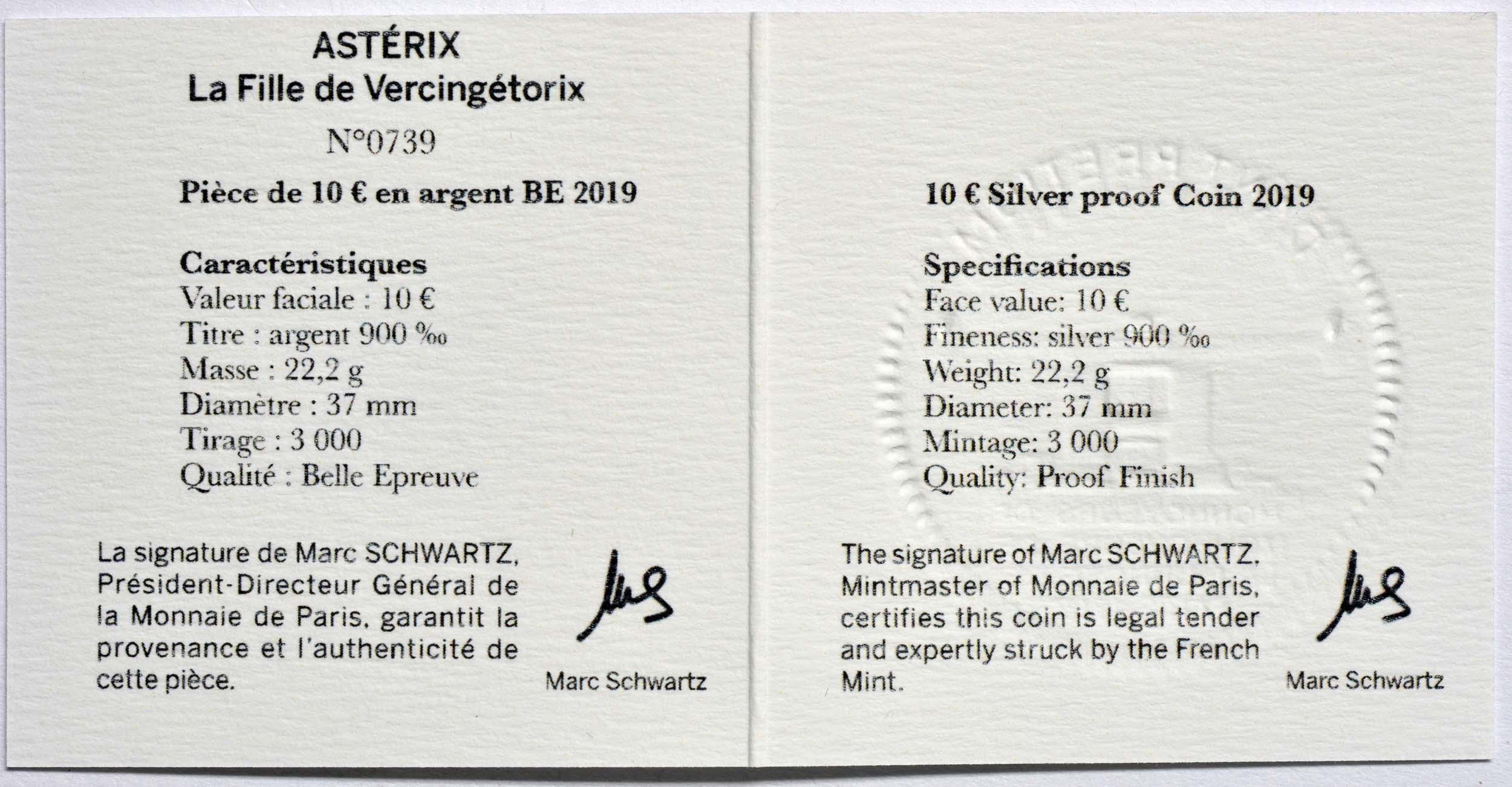 Zertifikat:Frankreich : 10 Euro Asterix - neues Album  2019 PP