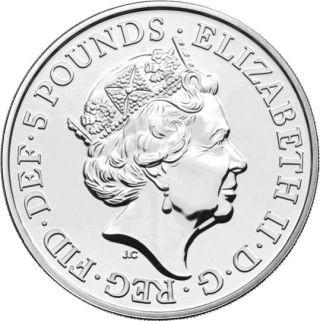 Rückseite:Großbritannien : 5 Pfund Lunar Ratte im Blister  2020 Stgl.