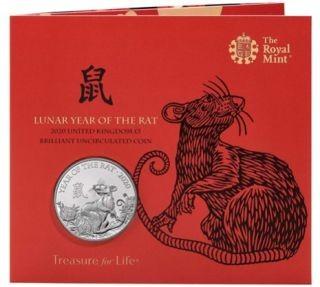 Lieferumfang:Großbritannien : 5 Pfund Lunar Ratte im Blister  2020 Stgl.