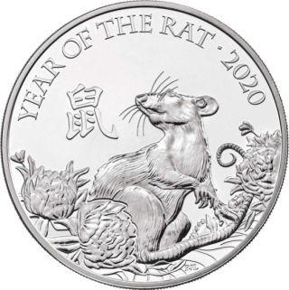 Vorderseite:Großbritannien : 5 Pfund Lunar Ratte im Blister  2020 Stgl.