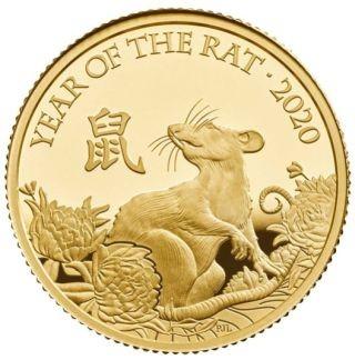 Vorderseite:Großbritannien : 25 Pfund Lunar Ratte 1/4 oz  2020 PP