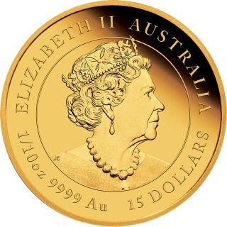 Rückseite:Australien : 15 Dollar Jahr der Maus 1/10 oz  2020 PP