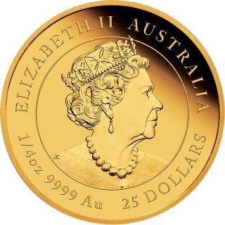 Rückseite:Australien : 25 Dollar Jahr der Maus 1/4 oz  2020 PP
