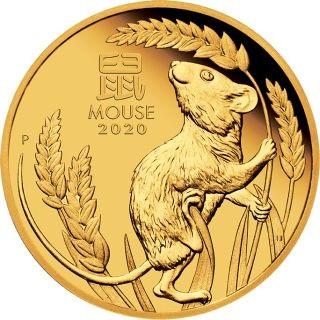 Vorderseite:Australien : 25 Dollar Jahr der Maus 1/4 oz  2020 PP