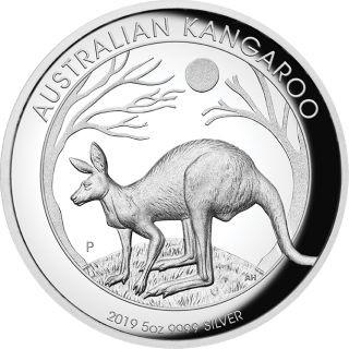 Vorderseite:Australien : 8 Dollar Känguru 5 oz - Highrelief  2019 PP