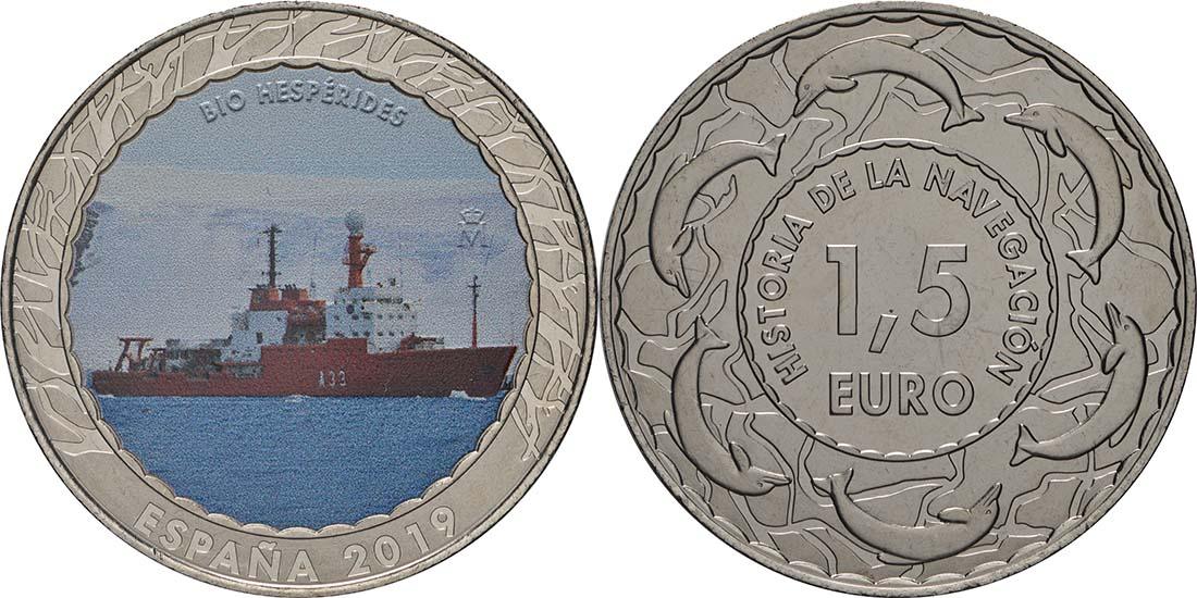 Lieferumfang:Spanien : 1,5 Euro Forschungsschiff Hésperides #20  2019 Stgl.