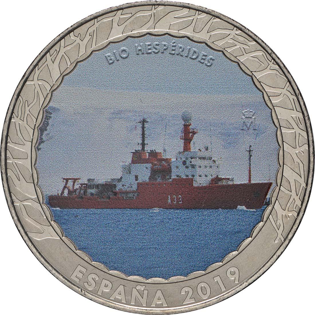 Vorderseite:Spanien : 1,5 Euro Forschungsschiff Hésperides #20  2019 Stgl.