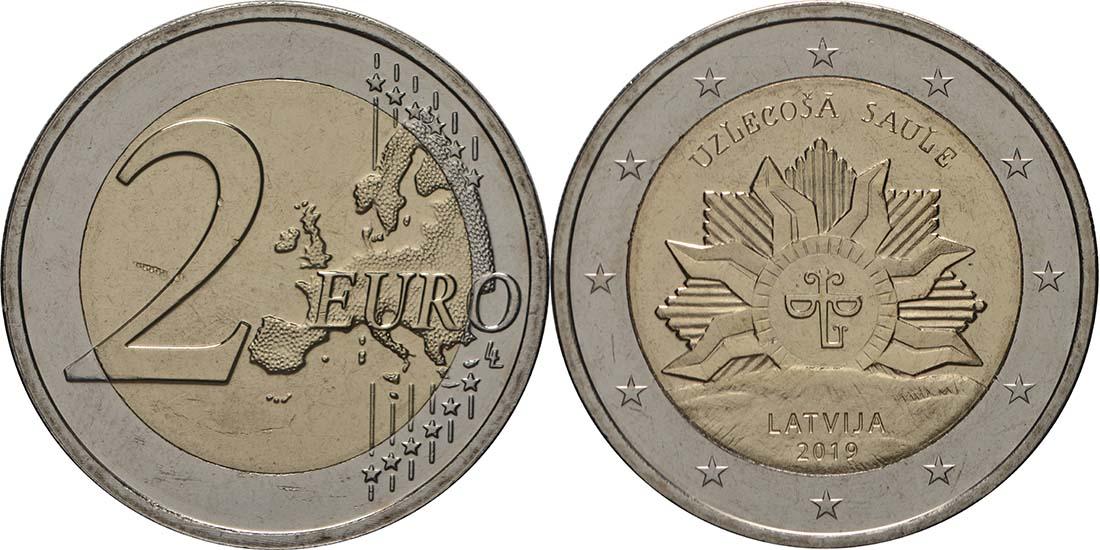 Lieferumfang:Lettland : 2 Euro Die aufgehende Sonne  2019 bfr