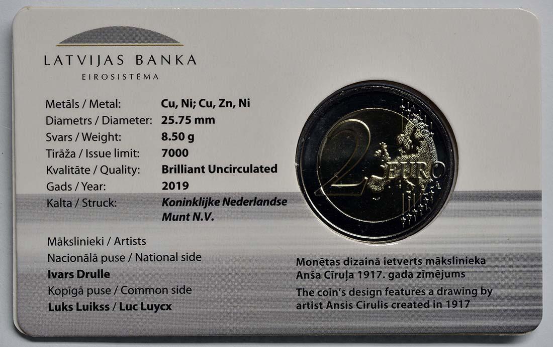 Zertifikat:Lettland : 2 Euro Die aufgehende Sonne  2019 Stgl.