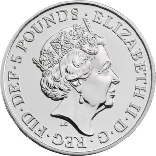 Rückseite:Großbritannien : 5 Pfund The Queen´s Beasts #7 - Weißer Löwe im Blister  2020 Stgl.