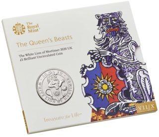 Lieferumfang:Großbritannien : 5 Pfund The Queen´s Beasts #7 - Weißer Löwe im Blister  2020 Stgl.