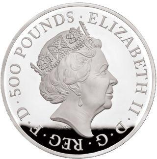 Vorderseite:Großbritannien : 500 Pfund The Queen´s Beasts #7 - Weißer Löwe 1 kg  2020 PP