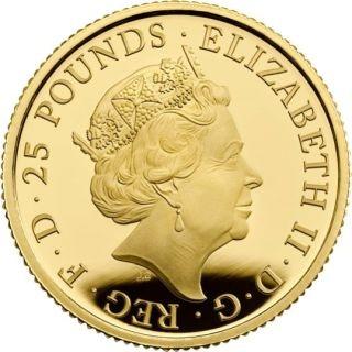 Vorderseite:Großbritannien : 25 Pfund The Queen´s Beasts #7 - Weißer Löwe 1/4 oz  2020 PP