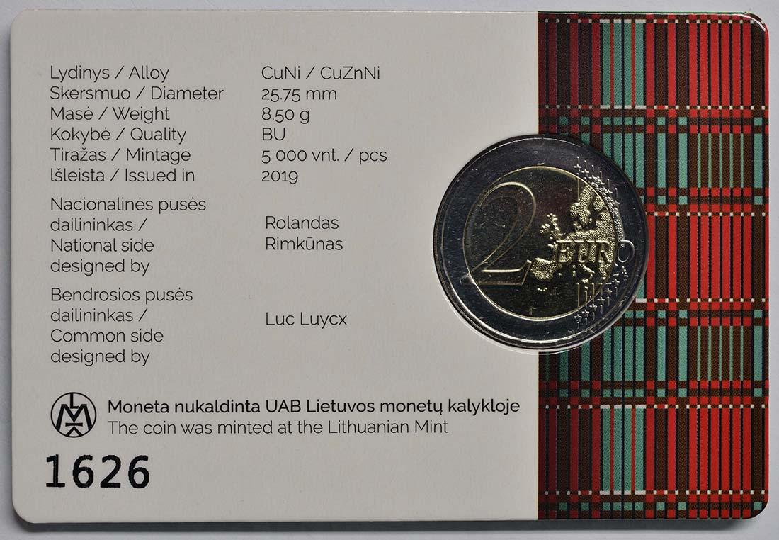 Rückseite:Litauen : 2 Euro Zemaitija (Samogitien)  2019 Stgl.