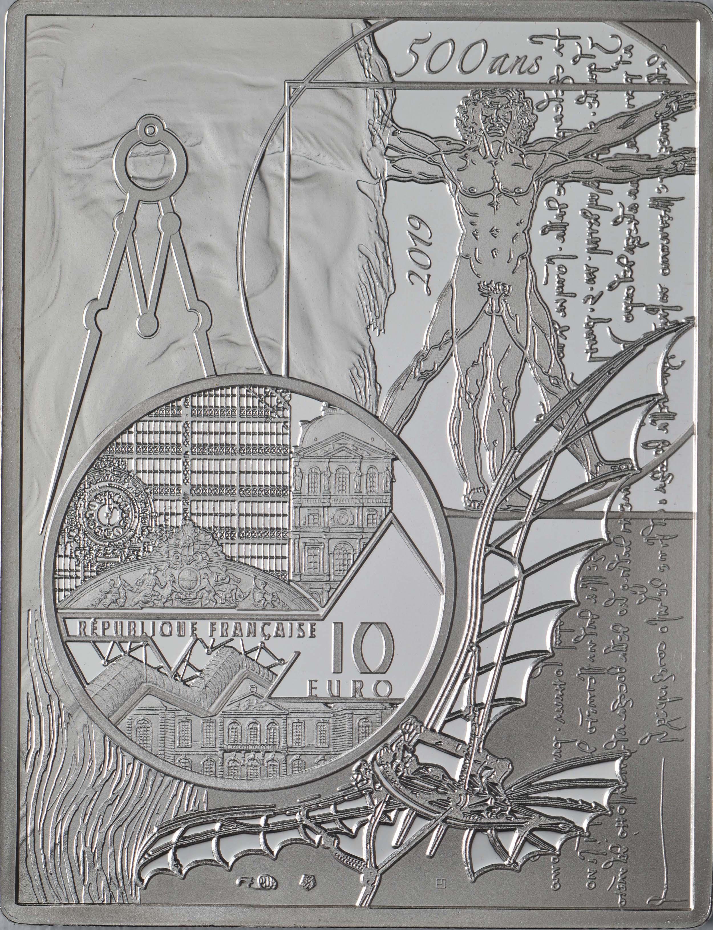 Rückseite:Frankreich : 10 Euro Mona Lisa - farbig  2019 PP