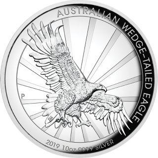 Vorderseite:Australien : 10 Dollar Keilschwanzadler - Highrelief  10 oz  2019 PP