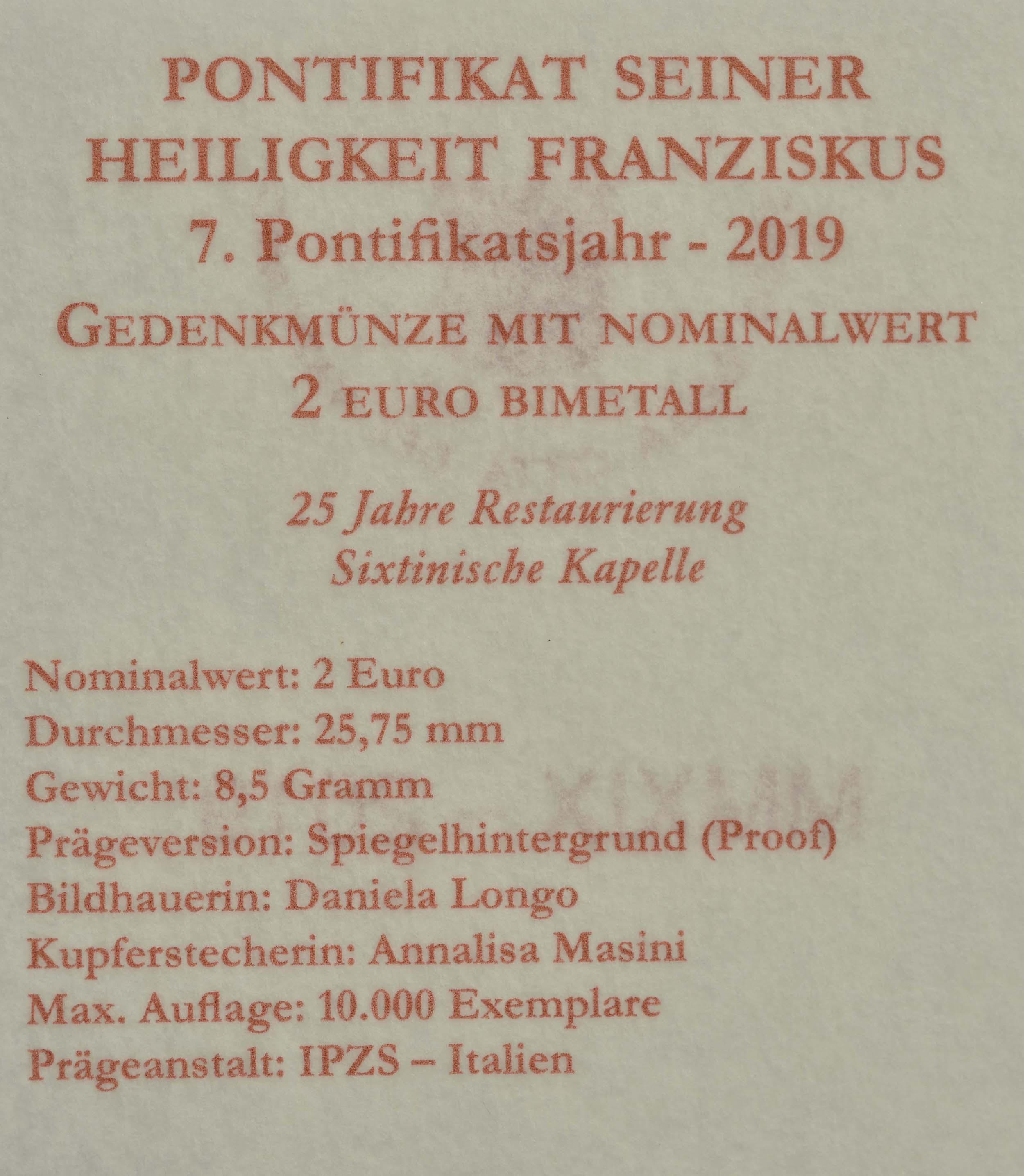 Zertifikat:Vatikan : 2 Euro 25. Jahrestag der Restaurierung der Sixtinischen Kapelle  2019 PP