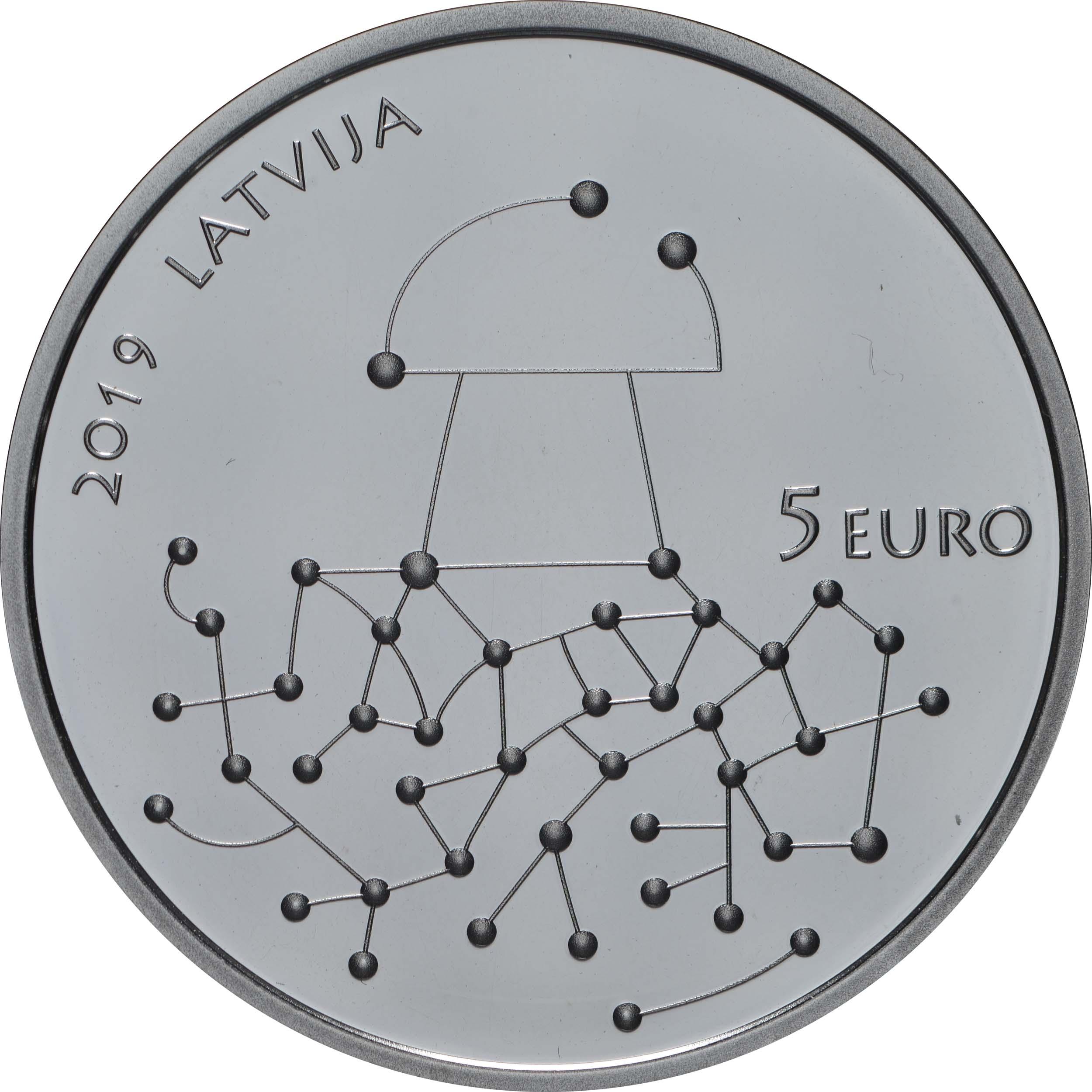 Rückseite:Lettland : 5 Euro Geschenke des Waldes  2019 PP