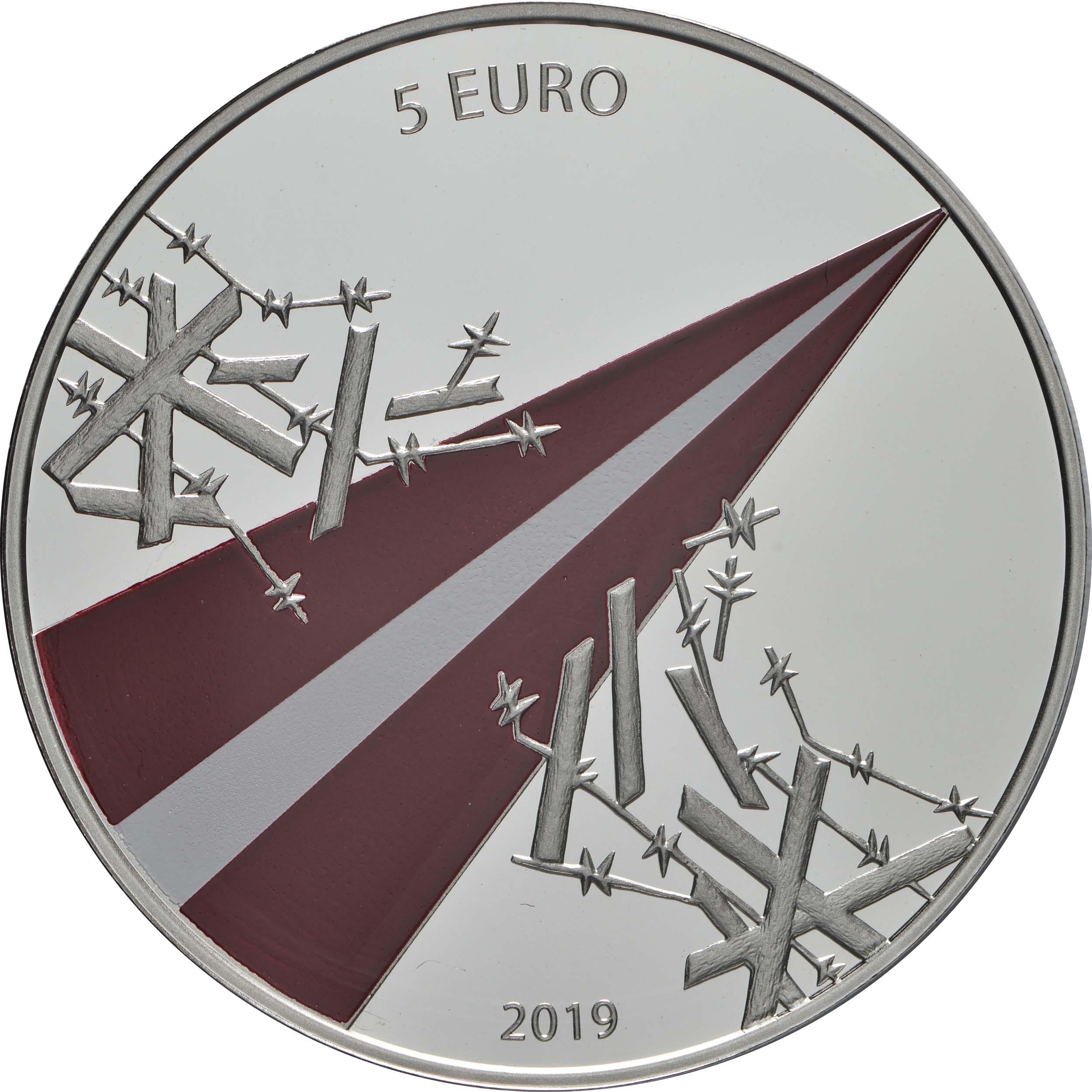 Rückseite:Lettland : 5 Euro Freiheitskämpfe 1918-1920  2019 PP