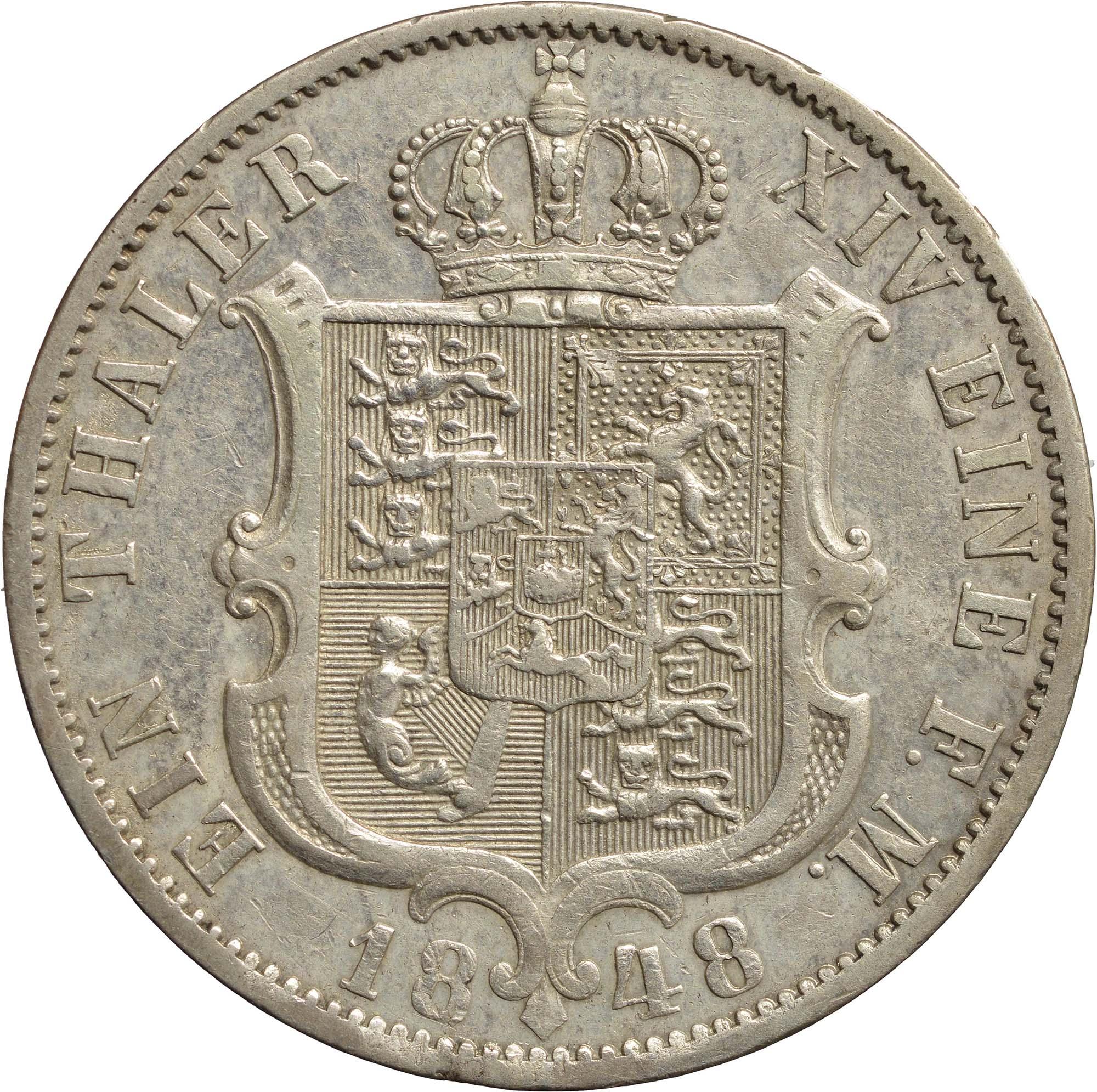 Rückseite:Deutschland : 1 Taler  winz. Rs. 1848 ss/vz.