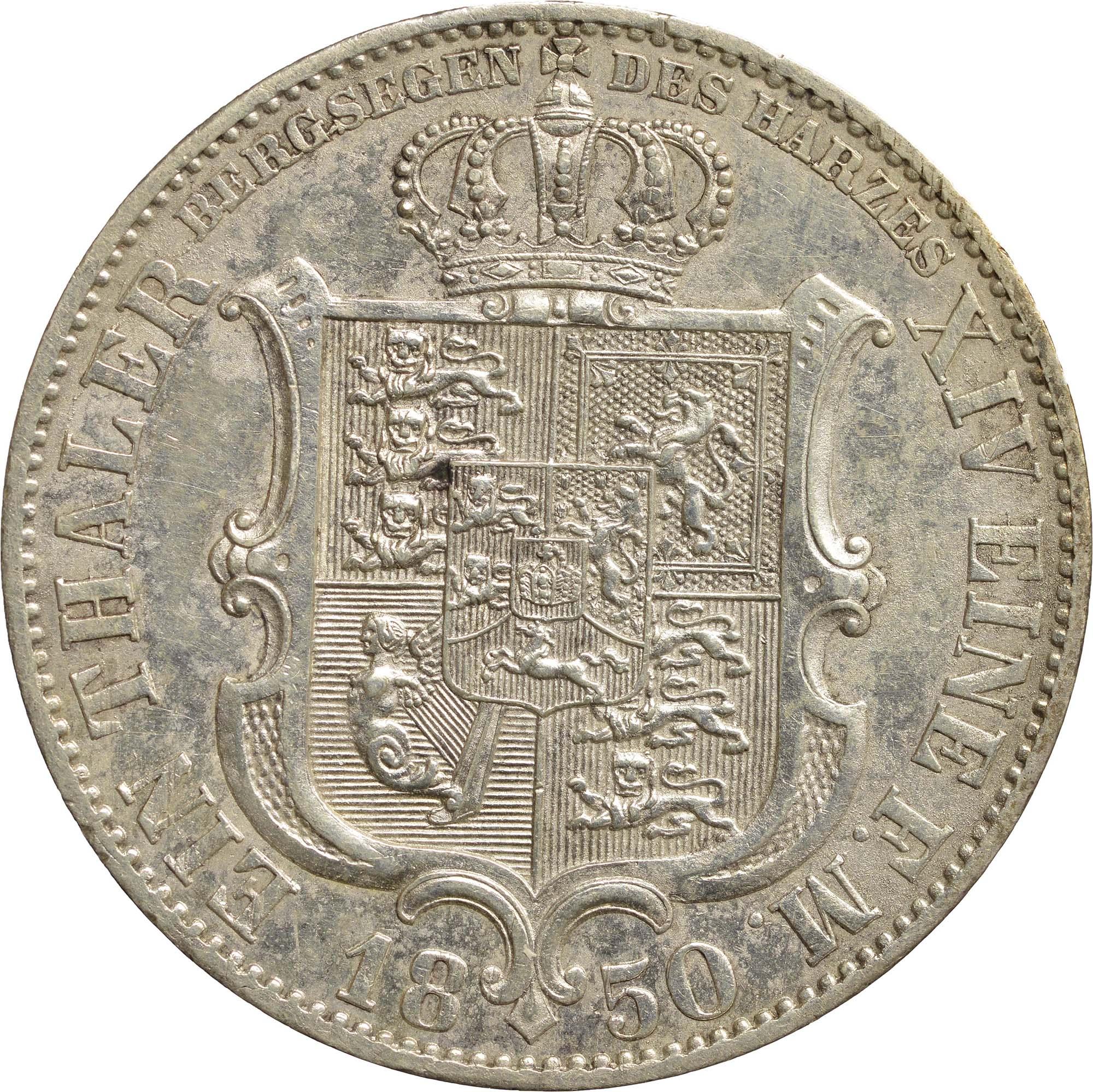 Rückseite:Deutschland : 1 Ausbeutetaler Ernst August winz. Kratzer, Rs. 1850 vz.