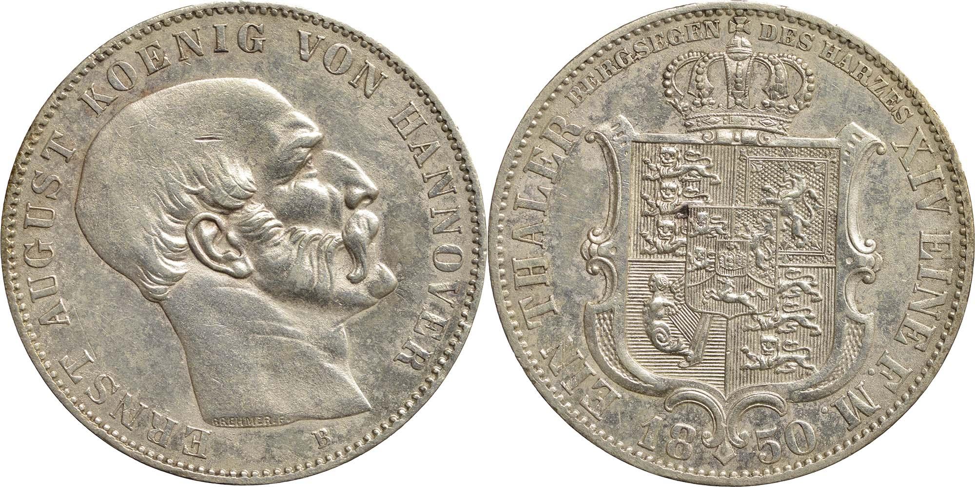 Lieferumfang:Deutschland : 1 Ausbeutetaler Ernst August winz. Kratzer, Rs. 1850 vz.