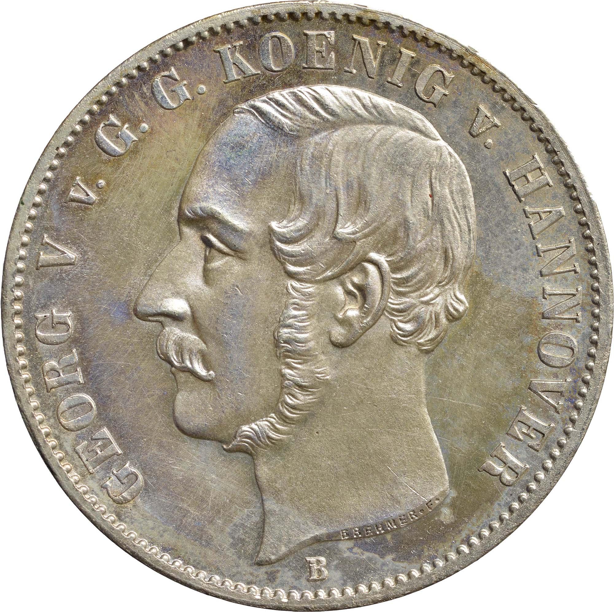 Vorderseite:Deutschland : 1 Ausbeutetaler Georg V.  1856 Stgl.