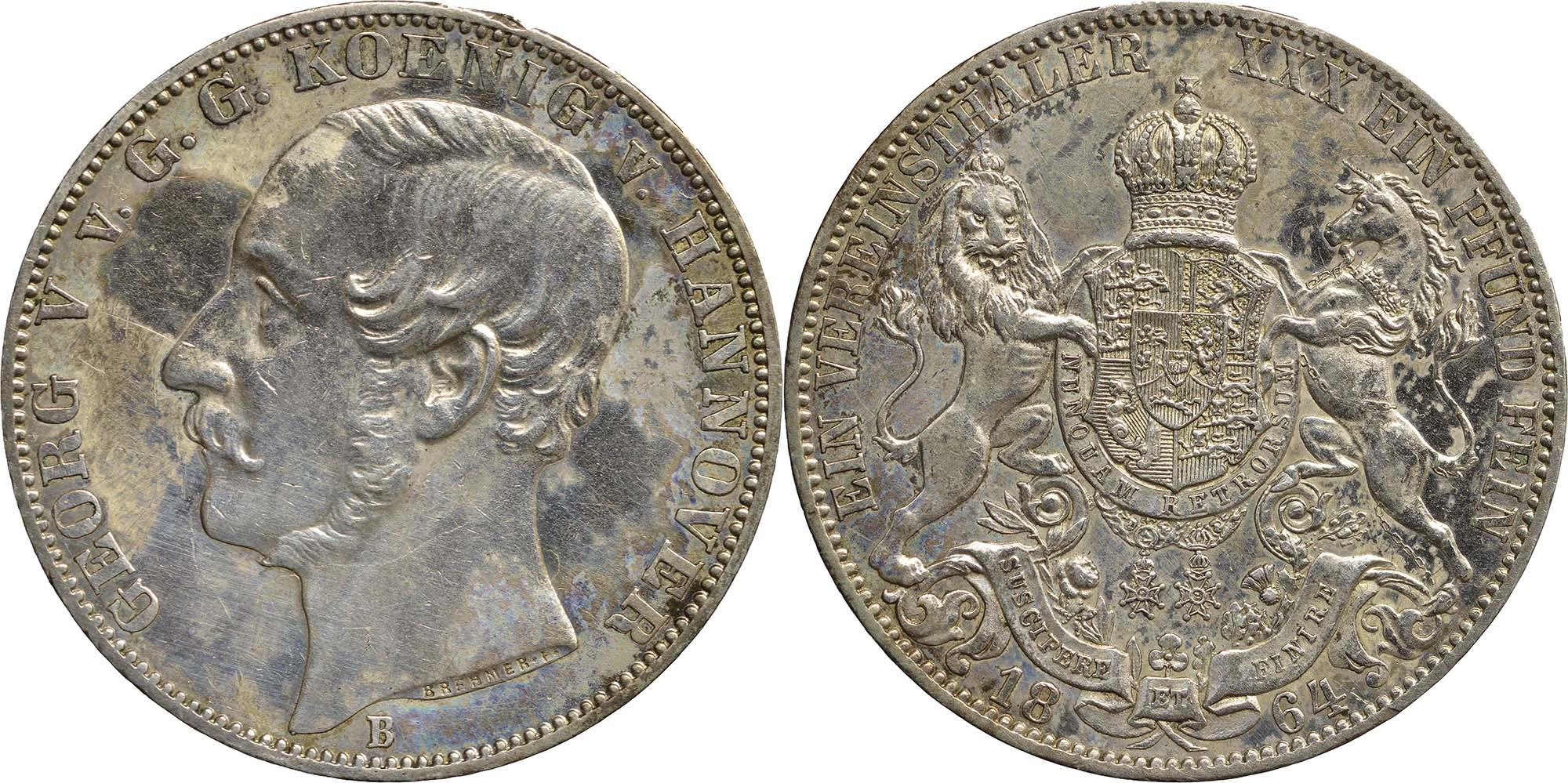 Lieferumfang:Deutschland : 1 Vereinstaler Gerog V.  1864 ss/vz.