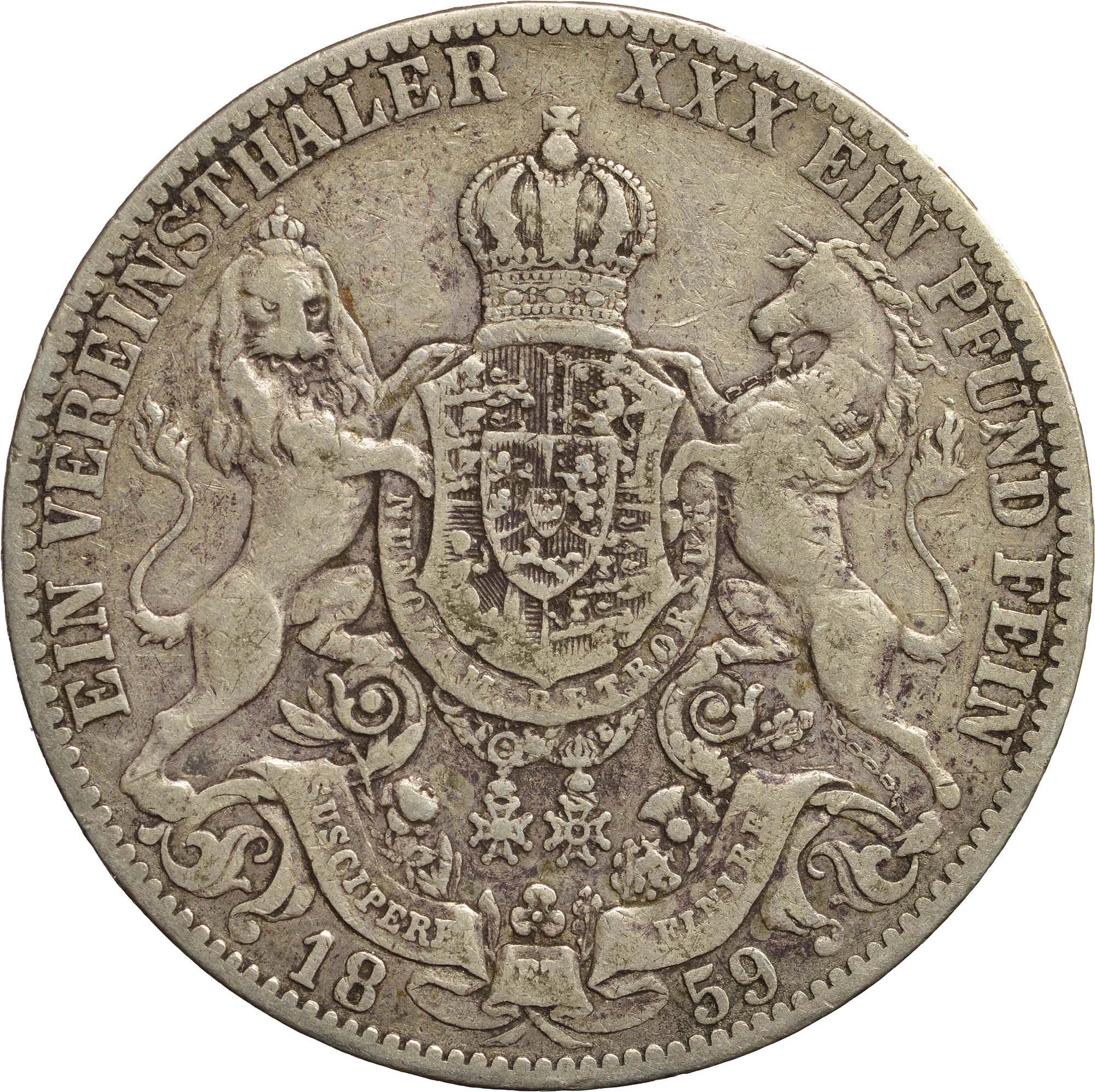 Rückseite:Deutschland : 1 Vereinstaler Gerog V.  1859 ss.