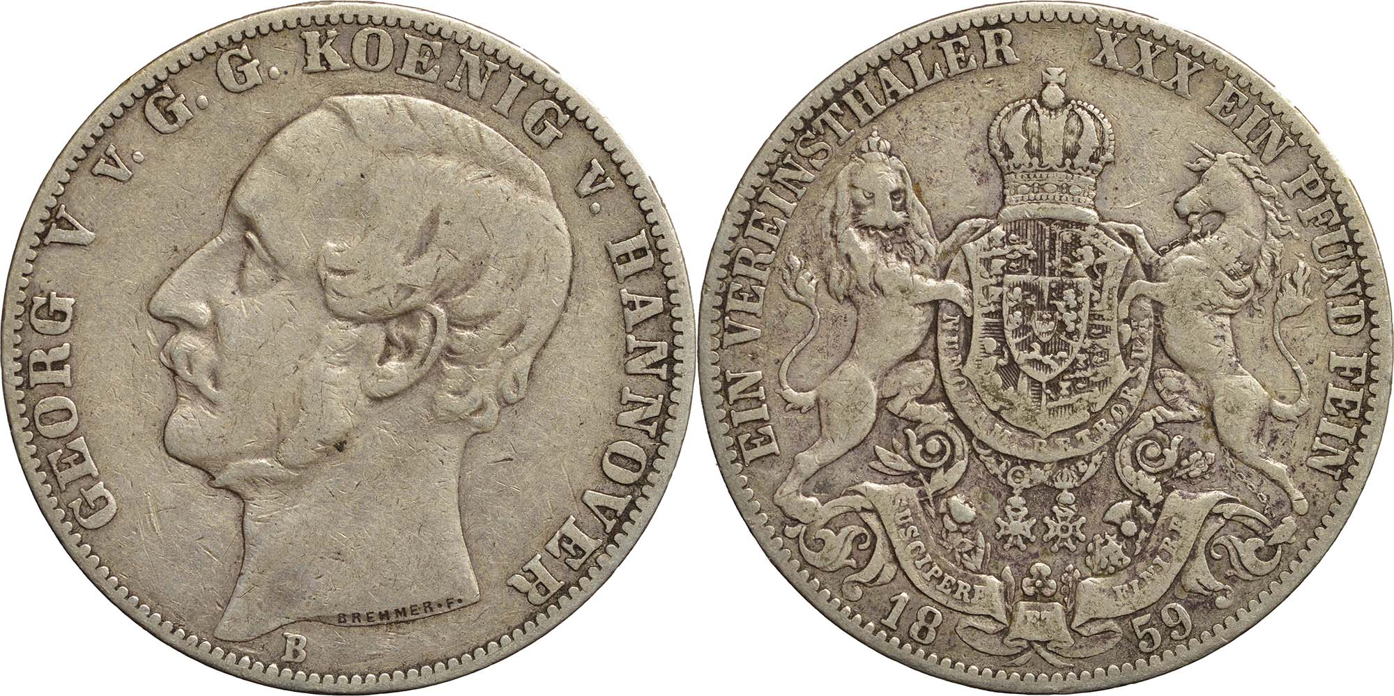 Lieferumfang:Deutschland : 1 Vereinstaler Gerog V.  1859 ss.