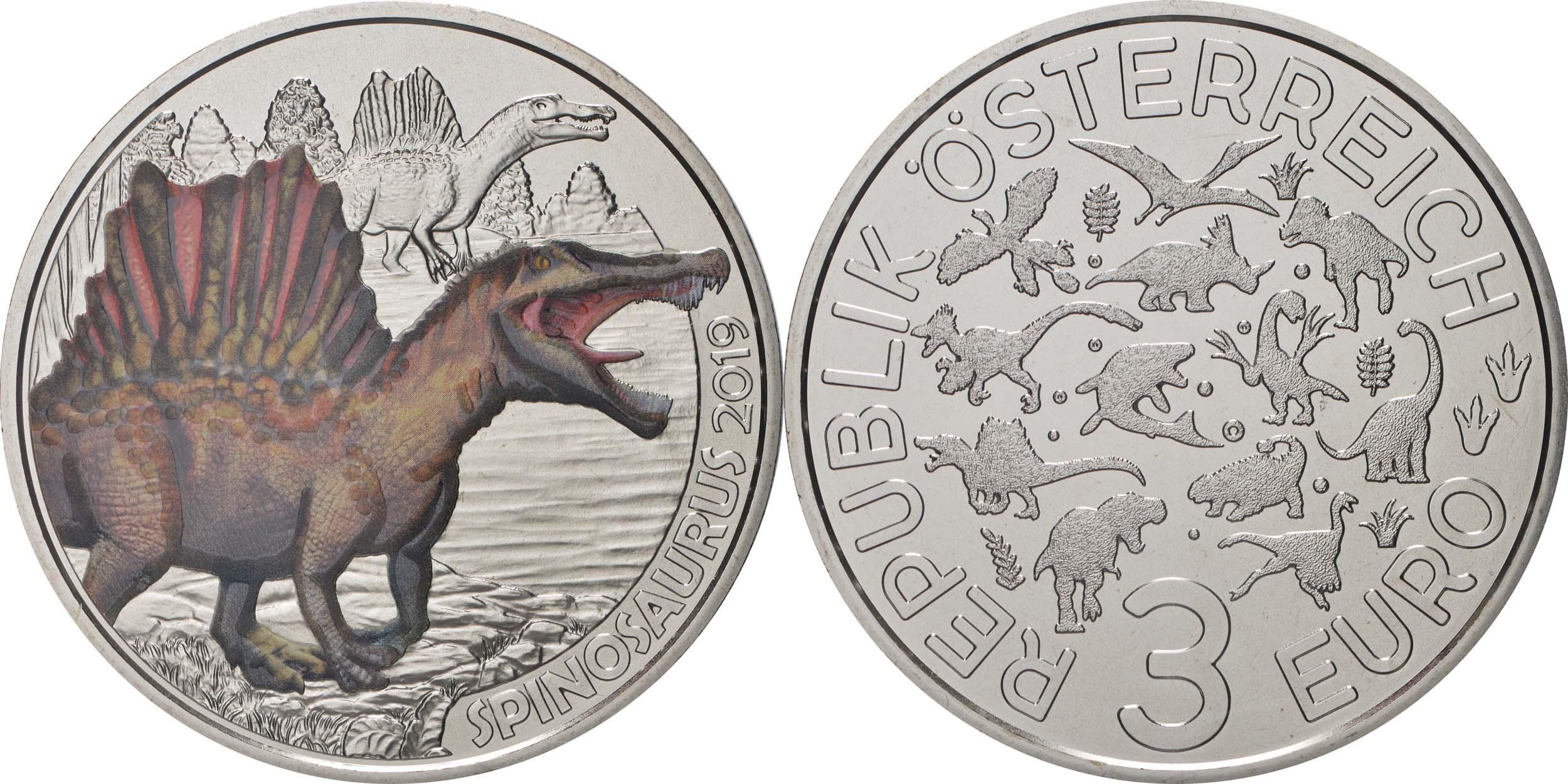Lieferumfang:Österreich : 3 Euro Spinosaurus Aegyptiacus #1  2019 Stgl.