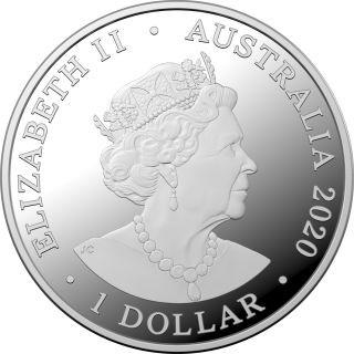 Rückseite:Australien : 1 Dollar Känguruh im Sonnenaufgang    1/2 oz  2020 PP